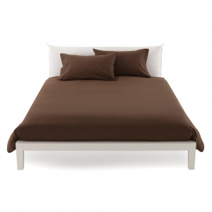 Duvet cover maxi 270 x 270 double bed cover in pure cotton ISTAR - cocoa