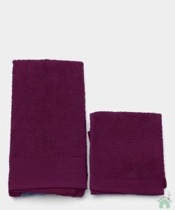 Asciugamani Happidea set 1+1 viso e mani, bagno piscina arredo porpora