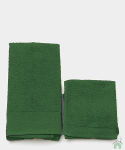 Asciugamani Happidea set 1+1 viso e mani, bagno piscina arredo Muschio