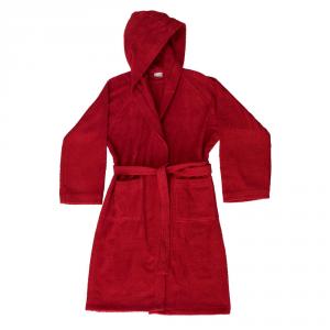 Accappatoio con cappuccio in Spugna di puro cotone Bassetti  TIME, vari colori, UNISEX - Rosso carminio-XL
