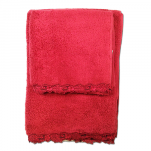 Set asciugamani La Perla con pizzo ricamato Petit maison microspugna - rosso