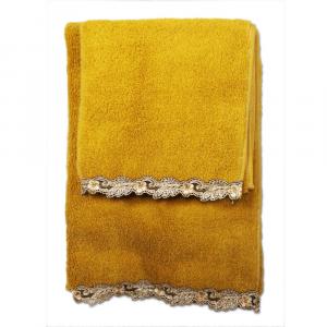 Set asciugamani La Perla con pizzo ricamato Petit maison microspugna - oro
