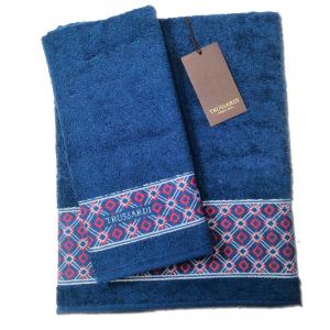 Trussardi set 1+1 asciugamano e ospite in spugna DANDY SOLID blu
