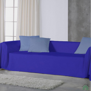 Copridivano Telo arredo Panama 100% cotone 250x280 - bluette