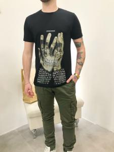 Pantalone in puro cotone elasticizzato con tasconi laterali