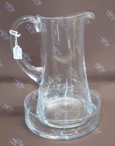 Brocca in vetro con piattino