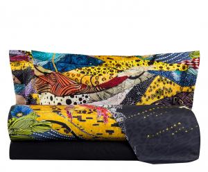 Roberto Cavalli set lenzuola matrimoniale NIMPHEA nero raso di cotone