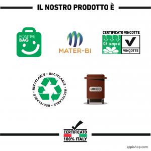 Sacco immondizia compostabile in rotolo formato : 40x30x110 cm.