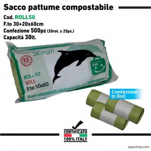 Sacco immondizia compostabile formato : 30x20x60 cm.