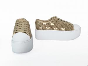 Sneaker beige logata con para alta Guess