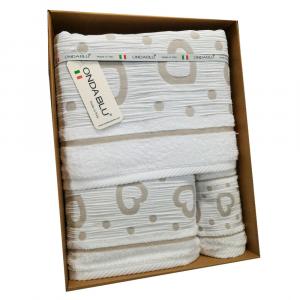 Set 3 asciugamani - telo, viso e ospite in spugna  Amore