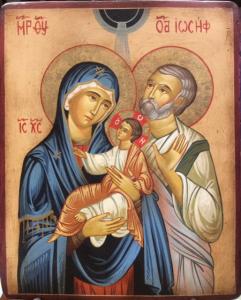 Icona rumena dipinta Sacra Famiglia 22 x 18 cm