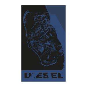 Telo da mare in spugna 95x180 cm DIESEL Ripped Tiger blue