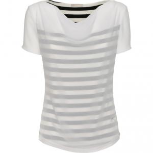 T-shirt bluette o bianca con collo drappeggiato Nero Giardini