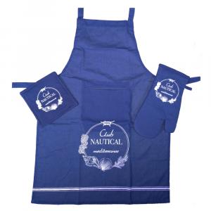 Set da cucina - grembiule+guantone+presina CLUB NAUTICAL blu