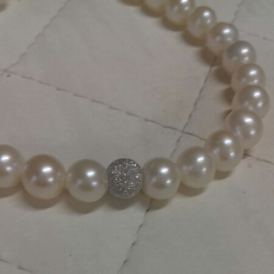 Bracciale donna perle con inserto in oro bianco, vendita on line | GIOIELLERIA BRUNI Imperia