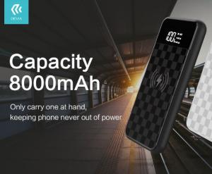 Carica batteria portatile Qi 8000 mAh a induzione nero