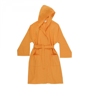Microfiber bathrobe with hood Bassetti TIME UNISEX - Orange 1921.