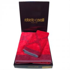 Roberto Cavalli telo bagno SPIDER spugna di puro cotone - rosso