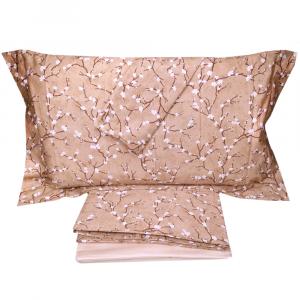 Completo lenzuola matrimoniale 2 piazze in raso DONDI Bonsai - biscotto