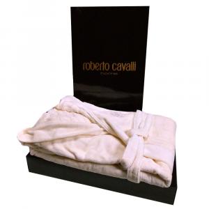 Roberto Cavalli accappatoio ZEBRONA spugna di puro cotone - avorio