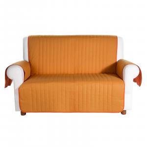 Copridivano salvadivano trapuntato Caleffi Bicolor in cotone- 3 posti arancio