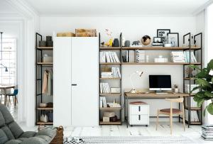 Libreria modulare al centimetro in ferro e legno Olut
