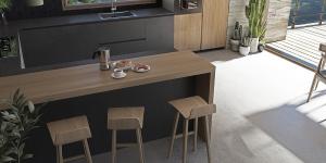 Cucina moderna legno e cemento con gola