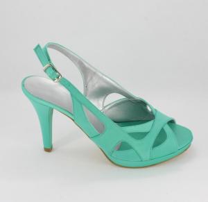 Sandalo cerimonia donna in tessuto di raso color Tiffany con cinghietta regolabile alla caviglia