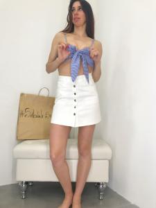 Top donna a fascia con fiocco in cotone con coppe fantasia a quadretti made in Italy | TG unica
