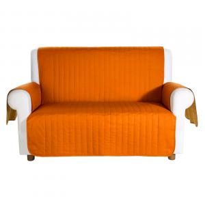 Copridivano salvadivano trapuntato Caleffi Bicolor in cotone- 2 posti arancio