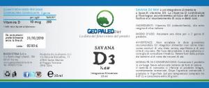 OFFERTA 26+4 Savana D3 Raw - VITAMINA D - 240.000 UI a flacone in Olio Extravergine di Oliva BIO