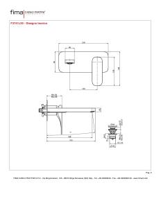 MISCELATORE LAVABO A PARETE BOCCA 198 mm SERIE QUAD
