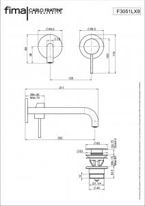 MISCELATORE LAVABO A PARETE BOCCA 90° SERIE SPILLO UP - F3051LX9