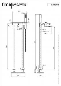 MISCELATORE VASCA A PAVIMENTO SERIE SPILLO UP - F3034/4
