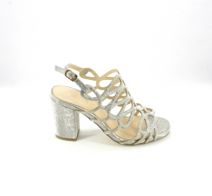Sandalo cerimonia donna elegante colore grigio glitter e cinghietta regolabile Art.09524