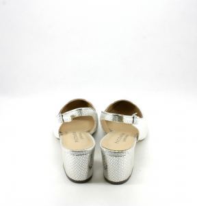 Scarpe donna elegante con punta sfilata e tacco largo colore argento Art. 07339