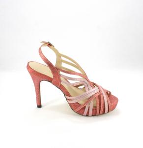 Sandalo cerimonia donna in tessuto glitter con plateau e cinghietta regolabile Art. 07955