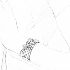 Bracciale Elika in pelle con chiusura in oro nero e diamanti neri
