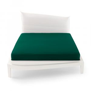 Lenzuolo con angoli matrimoniale altezza 32 cm Bossi verde 0042