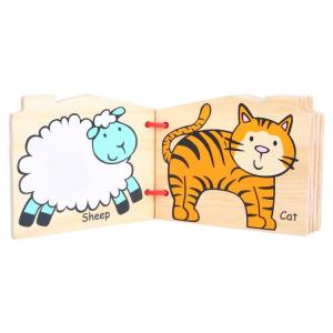 Libro in legno animali della fattoria gioco tattile didattico bambini