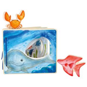 Libro illustrato in legno per bambini Mondo sottomarino interattivo