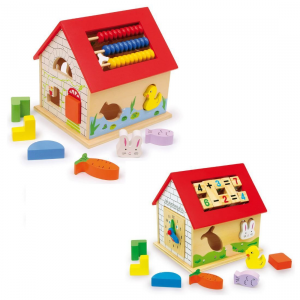 Casa multifunzionale con forme e numeri Gioco x  bambini in legno