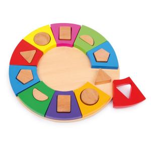 Cerchio ad incastro con forme geometriche gioco in legno