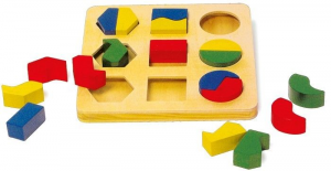 Puzzle ad incastro didattico e geometrico Gioco x  bambini in legno