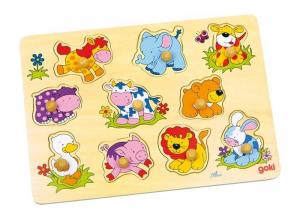 Puzzle ad incastro Cuccioli animali in legno gioco bambino