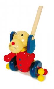 Primi Passi Cane animale da spingere in legno con suoni