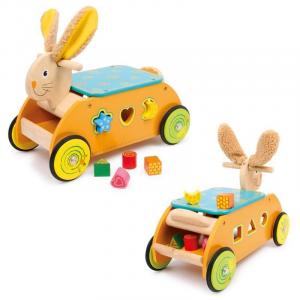 Carrello motorio in legno da traino per bambini forma Coniglio