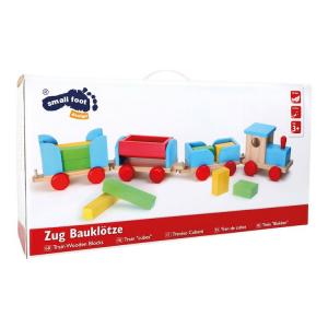 Treno in legno colorato con cubetti, gioco per bambini