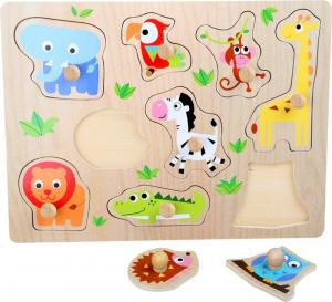 Puzzle Animali dello zoo in legno con bottone in legno.Gioco per bambini